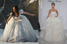 disney snow white theme wedding ideas from bridalguide.com  |  Lily Collins as Snow White in Mirror Mirror takes on a dwarf while styling a full-skirted ballgown dress, fit for a princess. This Pnina Tornai ballgown shows brides how to rock a full skirt like Snow White, complete with bling.