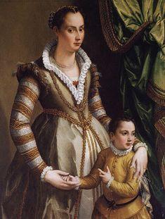 1574.Isabella de Medici-Orsini with her son Virginio by Alessandro Allori. Портрет Изабеллы,герцогини Браччано с сыном (1574) Уодсвортский атенеум, Хартфорд.