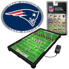 As a New England Patriots fan, you're crazy about football. Now you can recreate remarkable plays on the field at home with this Electric Football Game. It features New England Patriots graphics and action figures, making this the perfect gift for yourself or for any occasion. You won't be able to get enough New England Patriots action. Football Games Online, Football Team, Patriots Fans, Nfl New England Patriots, Football Challenges, Electric Football, Conference Logo, Philadelphia Eagles Fans, Eagles Nfl