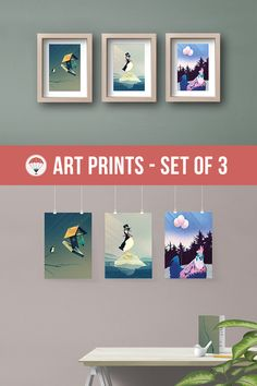 Bird Art Print Set of 3 Funny Animal Poster Cute Gifts for Children Wall Decor Kids Artwork Cute Bird Painting Whimsical Animals Three Piece