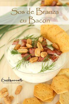 SOS DE BRANZA CU BACON - Acest aperitiv de sos de branză cu bacon afumat este ideal pentru petreceri! Serveste-l rece sau cald, copt în cupe individuale, alaturi de struguri proaspeți sau biscuiti picanti.