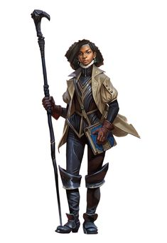 Female traveller / adventurer with spell book and staff DnD / Pathfinder character Black Characters, Dnd Characters, Fantasy Characters, Female Characters, Fantasy Heroes, Fantasy Character Design, Character Design Inspiration, Character Art, Fantasy Armor
