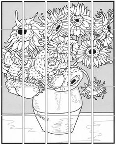 Van Gogh Sunflower Mural · Art Projects for Kids - Kunstunterricht Collaborative Art Projects For Kids, Group Art Projects, School Art Projects, Desenhos Van Gogh, Van Gogh For Kids, Van Gogh Arte, Van Gogh Sunflowers, Art Worksheets, Ecole Art