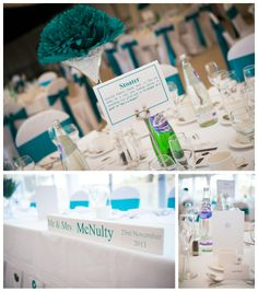 Alison & Peter's Wedding at Glasgow University & Mar Hall. Table decoration inspiration.
