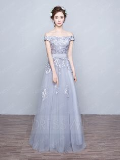 Buy Concise Lace Flowers Off Shoulder Neck Short Sleeves A-line Floor Length Prom Dress  Online, Dresswe.Com offer high quality fashion,Price: USD$146.99