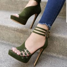 a18128901cf Green Buckles Ankle Strap Platform Sandals High Heel Shoes