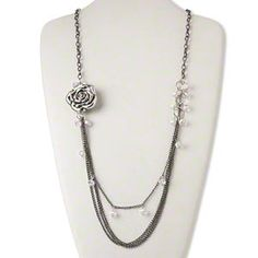 Necklace, gunmetal-finished steel/glass/silver-coated plastic, clear AB, 38x35mm rose, 28-inch continuous loop.