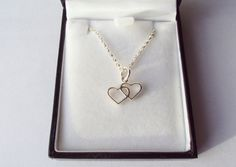 Valentine's, Double Heart, Sterling Silver, Chain, Necklace, by FineryBox on Etsy