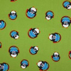 Kinderstoffe Baumwoll - Pinguin Mit Kopfhörern Lime