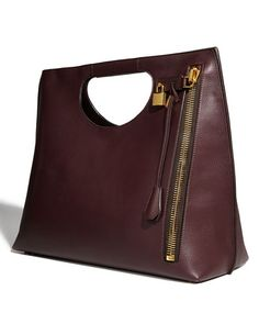 Tom FordAlix Leather Padlock Zip Shoulder Tote Bag, Bordeaux