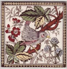 Vintage Tile, Retro Tile, China Painting, Tile Painting, Victorian Tiles, Art Nouveau Tiles, Turkish Art, Bird Crafts, Ceramic Birds