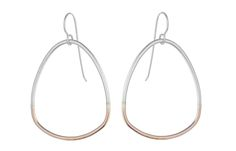 "These large rose gold and silver teardrop earrings are 1.5/8"" long by 1.3/8"" at their widest point. Materials: 14k rose gold fill (14k rose gold over brass core/no nickel), fine silver (.999), sterling silver (.925). All materials are hypo-allergenic. These earrings are handmade in San Francisco, California."
