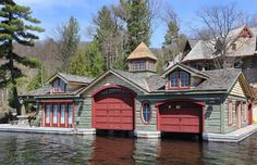 Muskoka cottage boathouse.... I'd be happy just to have this as my cottage, let alone the boathouse...