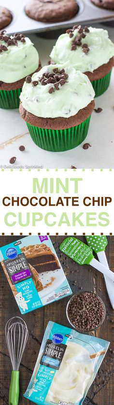 The BEST Mint Chocolate Chip Cupcakes using Pillsbury Purely Simple Chocolate Cake Mix
