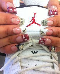 Sporty Nails #nails, #sports, #art, https://facebook.com/apps/application.php?id=106186096099420 Air Jordan