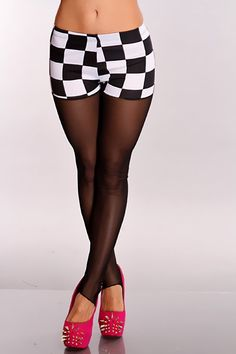 Dare to be different in these one of a kind leggings. These showstopping leggings are a must have. All eyes will be on you. Featuring elastic waistband, checker print, sheer mesh, heel strap, and fitted.