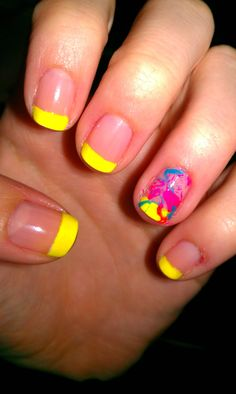 Neon tips with splatter accent nail -- I don't really like the colors... It's the yellow and pink, I think. But I like the idea of it. The splatter OVER the French, rather than under it.