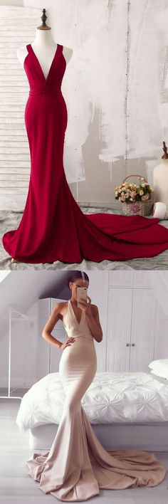 Dark Red Deep V Neck Prom Dress Sleeveless Mermaid Formal Evening With Cross Open Back P2041