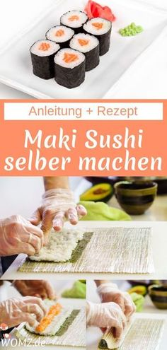 Making maki sushi yourself is very simple in principle. In this guide, I will show you how to prepare sushi rice, how to roll sushi and how to make delicious salmon maki. Dessert Sushi, Sushi Rice Recipes, Salmon Recipes, Sandwich Recipes, Cheap Easy Meals, Frugal Meals, How To Make Sushi, Food To Make, Pbs Food
