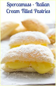 A delicious Italian Pastry Cream filled Puff Pastry Square, Sporcamuss, a traditional recipe from Southern Italy