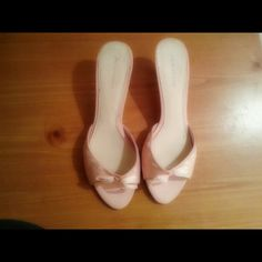 """Ladies Satin Peep Toe Shoes Ladies Satin Peep Toe Shoes open back with bow design in the front of the shoe 1"""" heel height. Shoes"""