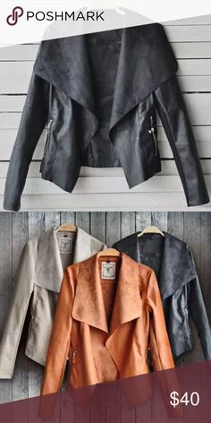 🔸 Black Slim Motorcycle Jacket Brand new, faux leather jacket in black. Perfect staple for fall layering! 💕Pre-order! 💕 Comment with size. 📦 Jackets & Coats