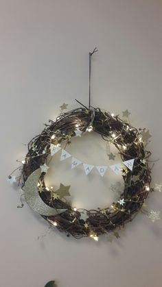 Ramadan wreath. Moon and stars with led light string.