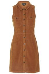 Cord Button Front Dress