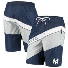 Men's Starter Navy/Gray New York Yankees Rookie Swim Trunk, Size: Large, Blue Yankees News, New York Yankees, Mens Cotton Shorts, Weather Day, Beach Tops, Sport Shorts, Summer Sun, Swim Trunks, Bad Boys