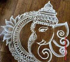 50 Most Beautiful Ganesh Rangoli Designs (ideas) that you can make during any occasion on the living room or courtyard floors. Simple Rangoli Border Designs, Rangoli Simple, Indian Rangoli Designs, Rangoli Designs Latest, Rangoli Designs Flower, Free Hand Rangoli Design, Small Rangoli Design, Rangoli Designs With Dots, Beautiful Rangoli Designs