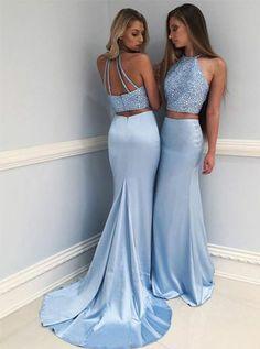 Eleg Glamour Two-Piece Round Neck Sweep Train Blue Prom Dress with Beading from Ulass#promdress#graduationdress#eveningdress#dress#dresses#gowns#partydress#longpromdress
