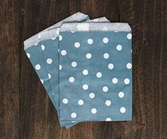 Navy Blue Polka Dot Paper Treat Bags - Wedding Decor, gift wrap, Polkadot Shower Party Supplies, decorative paper goods, food display