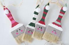 Buy dollar-store paintbrushes or use old ones to paint and transform into cute Santa ornaments.