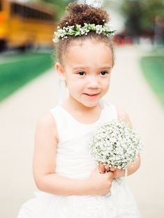 This cutie with baby's breath accessories: http://www.stylemepretty.com/2015/07/08/romantic-spring-wedding-at-united-states-naval-academy/ | Photography: Krista A. Jones - http://kristaajones.com/