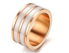 Rose Gold Stainless Steel Ceramic Ring Wedding Band Black White Fashion Jewelry