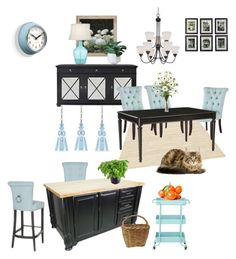 """""""Light Blue Kitchen & Dining Area"""" by silverlime2013 on Polyvore featuring interior, interiors, interior design, home, home decor, interior decorating, Uttermost, Calvin Klein, Crystorama and Hickory Chair Furniture"""
