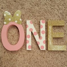 Minnie mouse first birthday wood letters by sweetfeetcreations4u