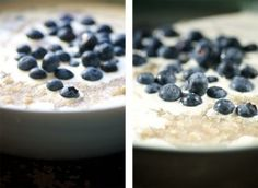 three seed porridge with ginger and blueberries