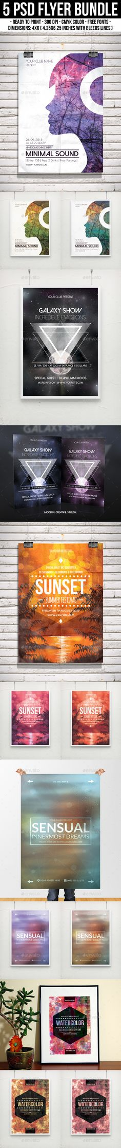 Buy Flyer Bundle by djjeep on GraphicRiver. This pack includes 5 PSD Flyer / Poster Templates. – Perfect for Summer party, gig, c. Club Poster, Party Poster, Gig Poster, Print Templates, Poster Templates, Flyer Template, Hipster Party, Art Festival, Festival Flyer