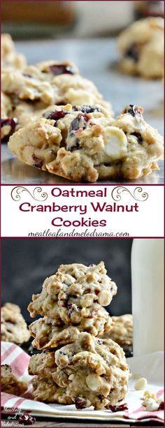 Oatmeal Cranberry Walnut Cookies -- Loaded with dried cranberries, walnuts and white chocolate chips, these soft, chewy cookies are easy to make and perfect for fall!