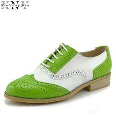 XiuNingYan 2017 Genuine Leather Shoes Women Brogues Oxfords Flat Heels Round  Toe Handmade Women Oxford Casual 7d6dc4e2e47c