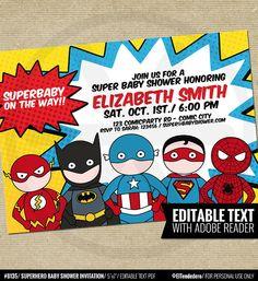 1531c0ac Superhero Invitation Template - Printable Superheroes Comic Book Theme  Invite - Baby Shower Editable Invitation - Instant Download