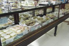 Antique Jewelry Case as bakery display