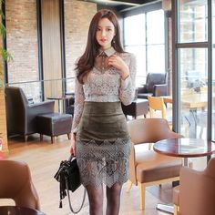 2 Piece Set 2017 Spring Women Office Sexy Bodycon Vintage Office Dress Vestidos Gray Lace Dresses Plus Size Sheath Pencil dress