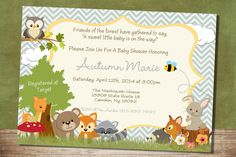 Chevron Forest Themed Baby Shower Invitation by RusticElegance18