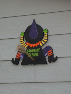 Halloween Wooden Sign. Handcrafted and Handpainted. *Crashed Witch*