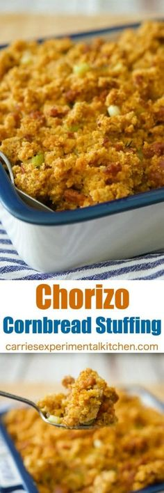 Chorizo Cornbread Stuffing is a deliciously easy stuffing that can be made throughout the year. Serve as a weeknight side dish or on your Thanksgiving table. Easy Appetizer Recipes, Yummy Appetizers, Snack Recipes, Cooking Recipes, Easy Dinner Recipes, Yummy Recipes, Thanksgiving Recipes, Thanksgiving Table, Holiday Recipes