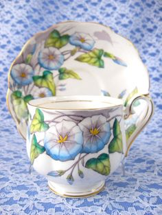 Royal Albert September Morning Glory Cup And Saucer Flower Of The Month 1940s