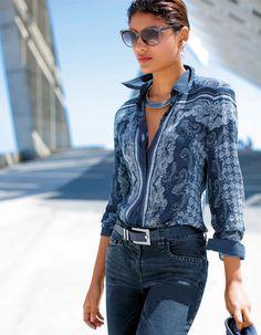 Bluse im Tücherdruck in der Farbe original - weiß, blau - im MADELEINE Mode Onlineshop