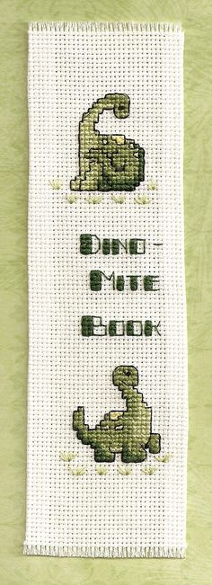 Dinomite embroidered bookmark by frozencharlotte on Etsy